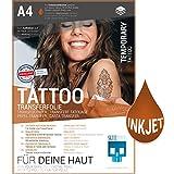 SKULLPAPER® temporäre Tattoo-Transferfolie FÜR DIE HAUT - SEHR GUT getestet - für Tintenstrahldrucker (A4-4 Blatt)