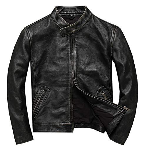 Motorjack, zwart, echt leer, voor mannen, grijs, motorfiets, racing, jas, biker, trenchcoat