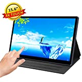 AtoLas 15.6 Inch 4K Portable Touch Screen Monitor,HDR,PD Charge,3840×2160 IPS Gaming Display with USB C/HDMI for PS4 Xbox Switch Laptop Phone, Leather Cover Include