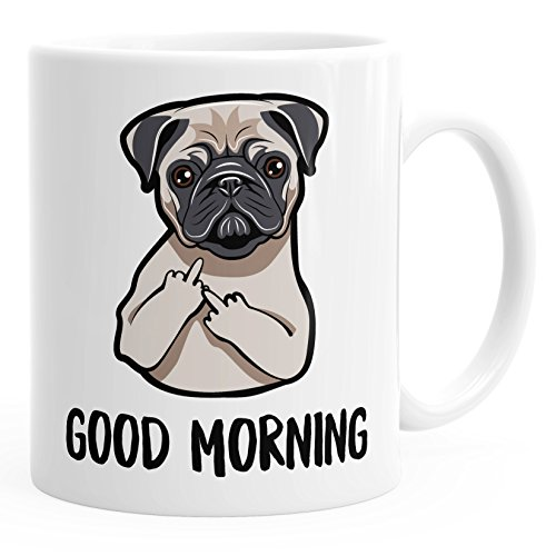 MoonWorks Büro-Tasse Good Morning böser Mops Mittelfinger Kaffeetasse Teetasse Keramiktasse weiß Unisize