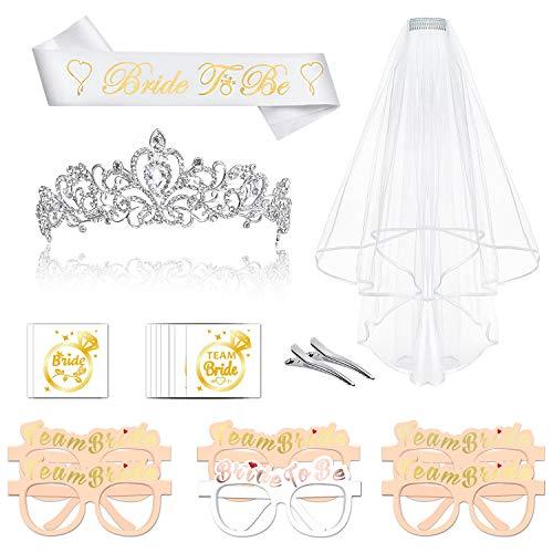 Konsait JGA deko Accessoires für Den Junggesellinnenabschied Frauen Party, Hochzeit für Braut to be, Team Braut, mit Tiara, JGA Schärpe, weißer Schleier mit Kamm, Gläser, 16 JGA Tattoos