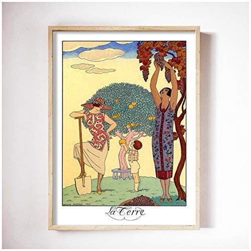ZQXXX George Barbier ilustraciones abstractas elementos cartel de arte de pared e impresiones cuadro lienzo pintura decoración del hogar -50x70cm sin marco