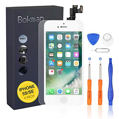 bokman LCD Pantalla para iPhone 5s SE Reemplazo de Pantalla LCD con Cámara Frontal, Sensor Flex, Altavoz Auricular y Herramientas de Reparación(Blanco)