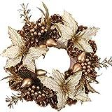 Weihnachtskranz, Kranz Aufhänger for Haustür Timer inklusive Gold Bell barir (Size : 60cm)