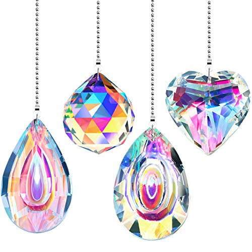 4 Pieces Crystal Ceiling Fan Pull Chain Rainbow Maker Pull Chain Extension with Connector for Bathroom Toilet Light Ceiling Light Fan (Longan, Water Drop, Heart, Round)