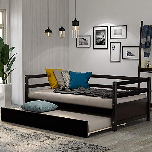 Find Cheap Harper&Bright Designs Wood Daybed with a Trundle, Trundle Daybed Twin Size, Standard Twin...