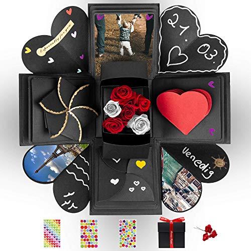 DYNOVIBE ® Kreative Geschenkbox – Überraschung Box, Explosionsbox, DIY Geschenk – besondere Geschenkidee zum Selbstgestalten für Geburtstag,Hochzeit,Weihnachten,Valentine,Jahrestag (Schwarz) (Schwarz)