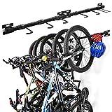 Sunix Estante de almacenamiento para 5 bicicletas, montado en la pared, soporte para colgar bicicletas, sistema de almacenamiento de garaje para el hogar y el garaje, paquete de 2