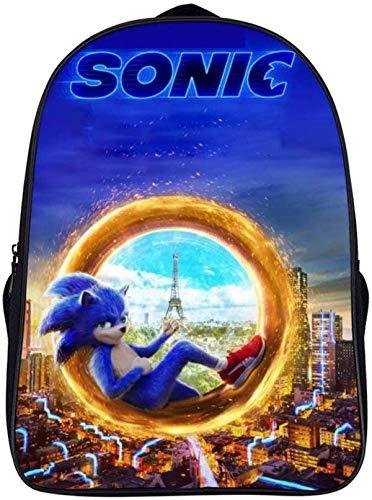 Sonic the Hedgehog Mochila de impresión a color, resistente al desgaste y transpirable, diseño exquisito (Sonic 5, estudiantes clases 1-6)