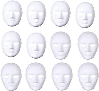 BESTOYARD 12pcs Full Face Mask Halloween Mask White DIY Mask Dance Cosplay Masquerade Party Mask (6pcs Male and 6pcs Female)