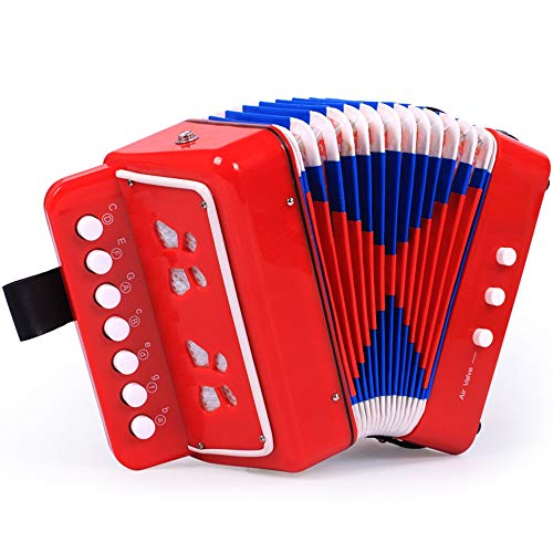 M-zutx Acordeón infantil Instrumento musical Juguete 2 Bajo 7 Teclas 1 Válvulas de aire...