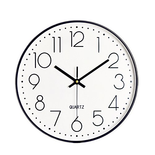 Foxtop 30 cm Reloj de Pared sin Tic TAC, Modern, silenciosa, Gran Esfera Negro para Cocina Dormitorio Escuela Oficina