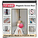 """72""""x80"""" Fiberglass Magnetic Screen Door - Mkicesky [Upgrade Reinforced Mesh] for French Door/Sliding Door, with Hands-Free, Kids/Pets Entry Freely, Full Frame Hook&Loop, Keep Bugs Out"""
