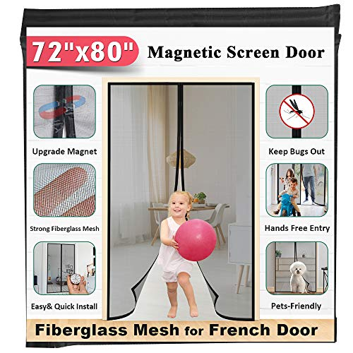 "72""x80"" Fiberglass Magnetic Screen Door - Mkicesky [Upgrade Reinforced Mesh] for French Door/Sliding Door, with Hands-Free, Kids/Pets Entry Freely, Full Frame Hook&Loop, Keep Bugs Out"