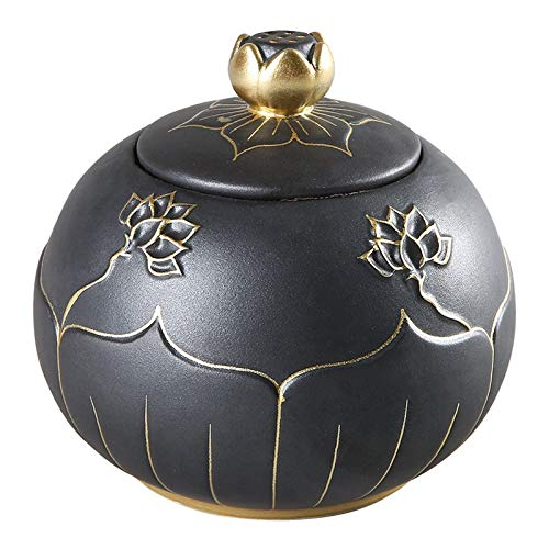 YYhkeby Ceramics Lotus Cremation Urn Funeral Memorial Cremation Ash Funeral Burial Urn Fits A Small Amout of Human Or Pets Ashes - Display Burial Urn at Home Jialele