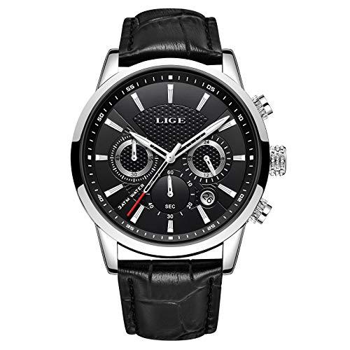 LIGE Reloj Hombre Moda CronóGrafo Impermeable Cuarzo AnalóGico Acero Inoxidable Cuero Brazalete Negocios Casual Calendario Reloj