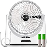 USB Powered Desk Fan, Battery Operated Fan, 9 Inch Camping Fans Rechargeable, Quiet Portable Fan with Enhanced Airflow, 2 Speeds, Personal Cooling Fan for Home Office Table