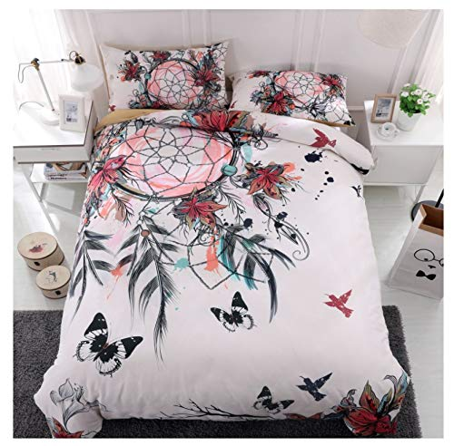 WEIGUANG Bedding Set Dream Catcher King Size Bohemian Print Duvet Cover Set with Pillowcase 3Pcs Au Queen Bed Best Gift Bedline Twin(66X90)