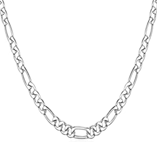 U7 Stainless Steel Figaro Chain|Width 3mm-12mm|Length 16 Inch to 32 Inch|Italian Style Flat Link Necklace for Men and Wome...