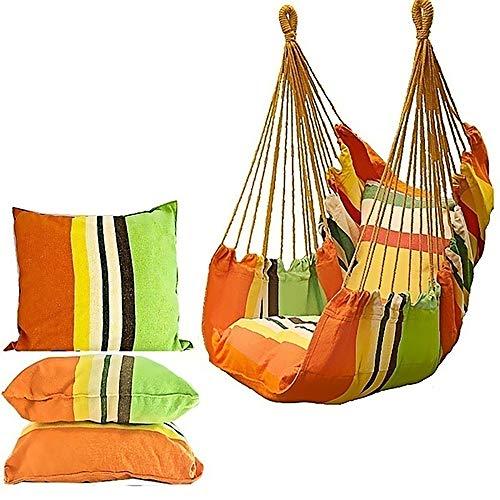 VIGEY Hängesessel Hängestuhl Hängesitz mit 2 Kissen Hängeschaukel bis 150 kg Belastbar Hängematte Stuhl für Indoor Outdoor Garten Yard Patio Veranda Haus