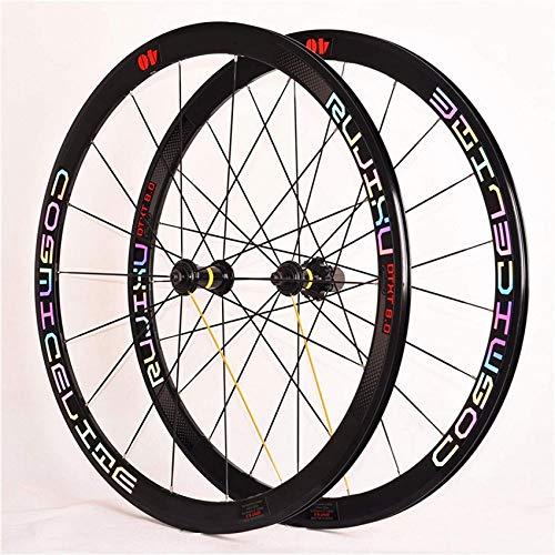 ZLJ Bicycle Wheels 700C Road Bike Wheelset 40mm Straight Reflective Puller Double Wall Alloy Rim Brake C/V 18/21 Holes 8-9-10-11 Speed