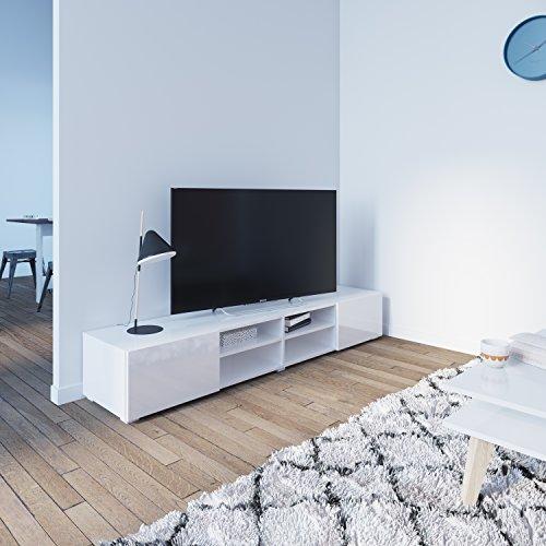 Symbiosis 3058A2119L02 TV-meubel met 4 vakken/2 laden, hout, wit/gelakt, 185 x 31 x 42 cm