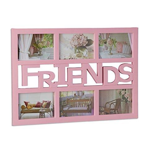 Relaxdays Bilderrahmen Freunde, Galerierahmen für 6 Fotos, Fotocollage Rahmen, quer, Kunststoff, HBT: 33x48x1,5 cm, pink