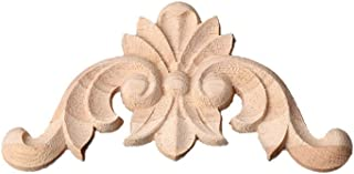 Misright Wood Carved Corner Onlay Applique Frame Decoration Furniture Unpainted Home