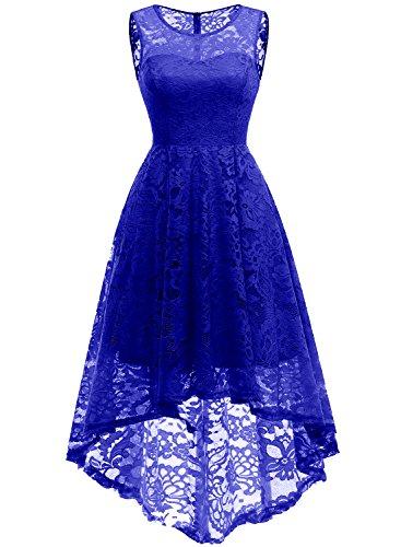 MuaDress 6006 Elegante Abendkleider Cocktailkleider Damenkleider Brautjungfernkleider aus Spitzen Knielange Rockabilly Ballkleid Rund Ausschnitt Royalblau L