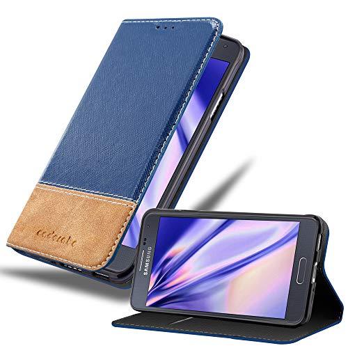 Cadorabo Custodia Libro per Samsung Galaxy Alpha in Blu Scuro Marrone – con Vani di Carte, Funzione Stand e Chiusura Magnetica – Portafoglio Cover Case Wallet Book Etui Protezione