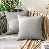 MIULEE 2er Set Outdoor Wasserdicht Kissenbezug aus Polyster Leinen-Optik Dekorative Sofakissen Dekokissen Moderne Kissenhülle für Sofa Wohnzimmer Schlafzimmer Bett 50x50 cm Grau Weiß