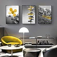 ポスターとプリント白黒風景キャンバス絵画壁アート黄色スタイル画像リビングルーム家の装飾30x40cmx3フレームレス