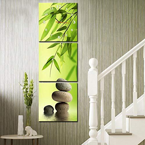 WFQGZ wandbild mit Uhr Rahmenlose malerei Moderne Wohnzimmer esszimmer Dekoration malerei Uhren leinwand malerei dreifach wanduhr gestapelt Stein und grün Bambus -50X50 cm 1778