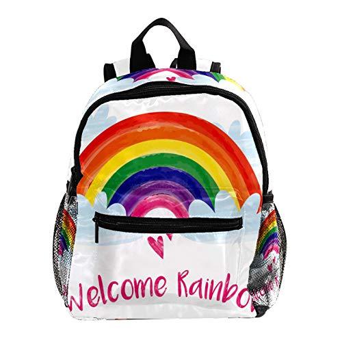 Grundschule Schultasche Regenbogen Willkommen Teenager Mädchen Schulrucksack ergonomischer Kinderrucksack Jugendliche 25.4x10x30 cm