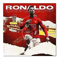 サッカー選手ロナウド壁アートキャンバス壁のポスターに絵画を印刷し、リビングルームの家の装飾のためのサッカーの写真を印刷します40x60cmフレームなし