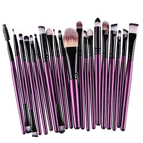 FiedFikt Lot de 20 pinceaux de Maquillage pour Sourcils, Fard à paupières, Eyeliner, Fond de Teint, Blush, Fond de Teint, Fibre de Laine