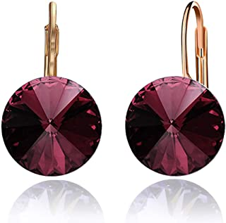 Swarovski Crystal Round Drop Earrings for Women 14K Gold Plated Hypoallergenic Leverback Hoop Earrings