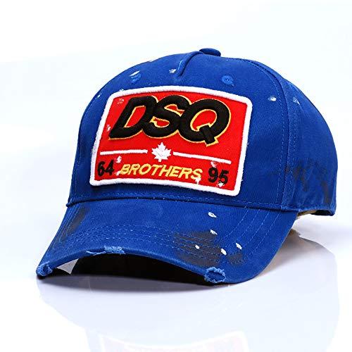 Kantenschleifen Vintage Baseball Cap Golf-Hut mit Dsquared Bestickt, Unisex Netzs Caps Vati-Hut,Blau