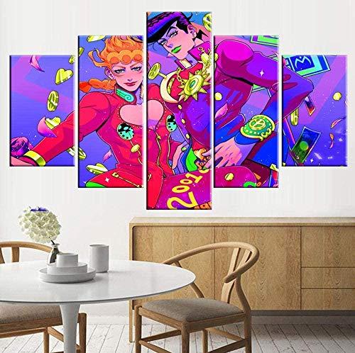 Yftnipl 5 Piezas De Pared Fotos Cuadros En Lienzo Jojo Bizarre Adventure Hd Imprimir Modern Artwork Decoración De Arte De Pared Living Room