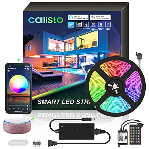 CALLISTO Smart WiFi Led Strip Lights, Waterproof 16.4ft 5m with Phone APP,Alexa Controlled 12V Power Supply Flexible Color Changing 5050 RGB 300 LEDs