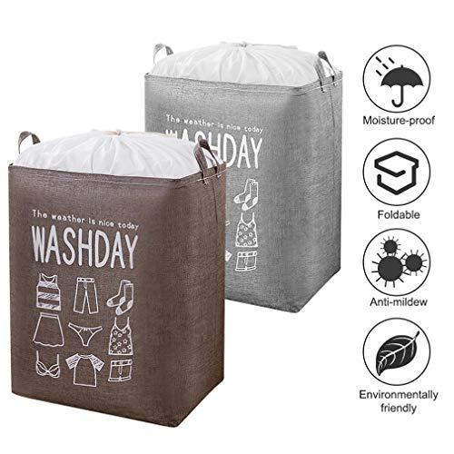 YOOKEA 2 Stück Wäschekörbe Faltbarer Wäschesack Aufbewahrungsbehälter aus Leinwandstoff Aufbewahrungskörbe mit Griffen und Tunnelzug Wäschesammler mit wasserdichte PE-Beschichtung, Grau und Braun