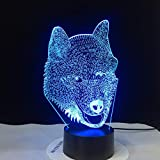Wolf Type Amazing 3D LED Lamp Dog LED Night Lights con panel mágico 3D ilusión óptica LED light