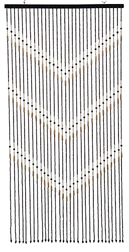 "Natural Wood and Bamboo Beaded Curtain-31 Strands-72 High--""Victory"" Bamboo and Wooden Doorway Beads-Boho Bohemian Curtain"