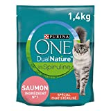 Purina One Dua Nature Au Saumon Avec de La Spiruline Croquettes pour Chat, 1,4kg