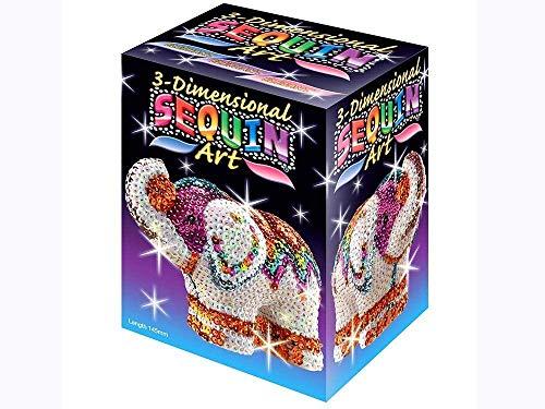 MAMMUT 8101121 - 3D Sequin Art Paillettenfigur Elefant, Steckform, Bastelset mit Styropor-Figur, Pailletten, Steckstiften, Perlen und Anleitung, für Kinder ab 8 Jahre