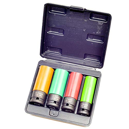 Nuss-Satz 15-17 - 21-22 mm für Alufelgen, mit Farbcodierung