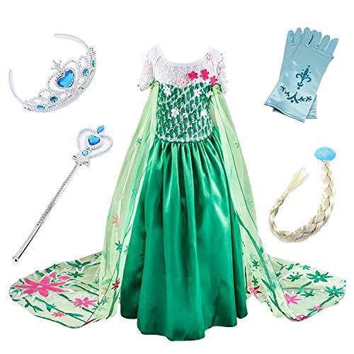FStory&Winyee Mädchen Kostüm Eiskönigin Kinder Kleid ELSA Cosplay Prinzessin Kleid Grün Karneval Party Verkleidung Halloween Fest