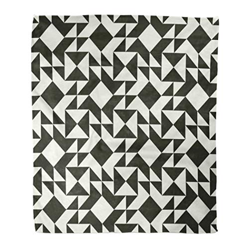 Janyho Practical Blanket Black White Abstract Geometric Quilt Triangles Simple Colors Easy Recolor Minimal Suitable Four Season Sleeping Bedroom Home Living Room Sofa Camping 50 X 60 Inch