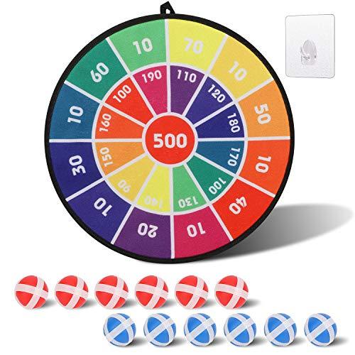 OOTSR Kinder Dartscheibe, Kinderspiel Dartscheibe mit 12 Klettbällen, Stoff Dartscheibe Klett Dartscheibe Spiel Sicheres Dartspiel Geschenk für Kinder-14 Inches(36cm)