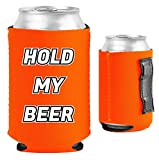 Hold My Beer Magnetic Neoprene Collapsible Can Coolie (Orange, 1)